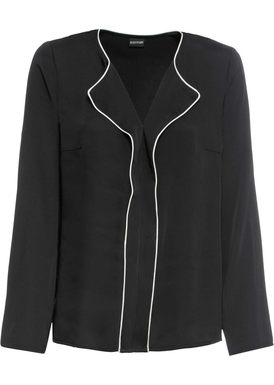 Modische Bluse in Glanz-Optik mit kontrastfarbigen Details - schwarz/wollweiß BU8gm OHYVP