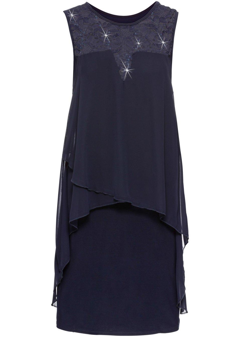 Apartes Kleid mit Pailletten - mitternachtsblau Jdufs GI5zx