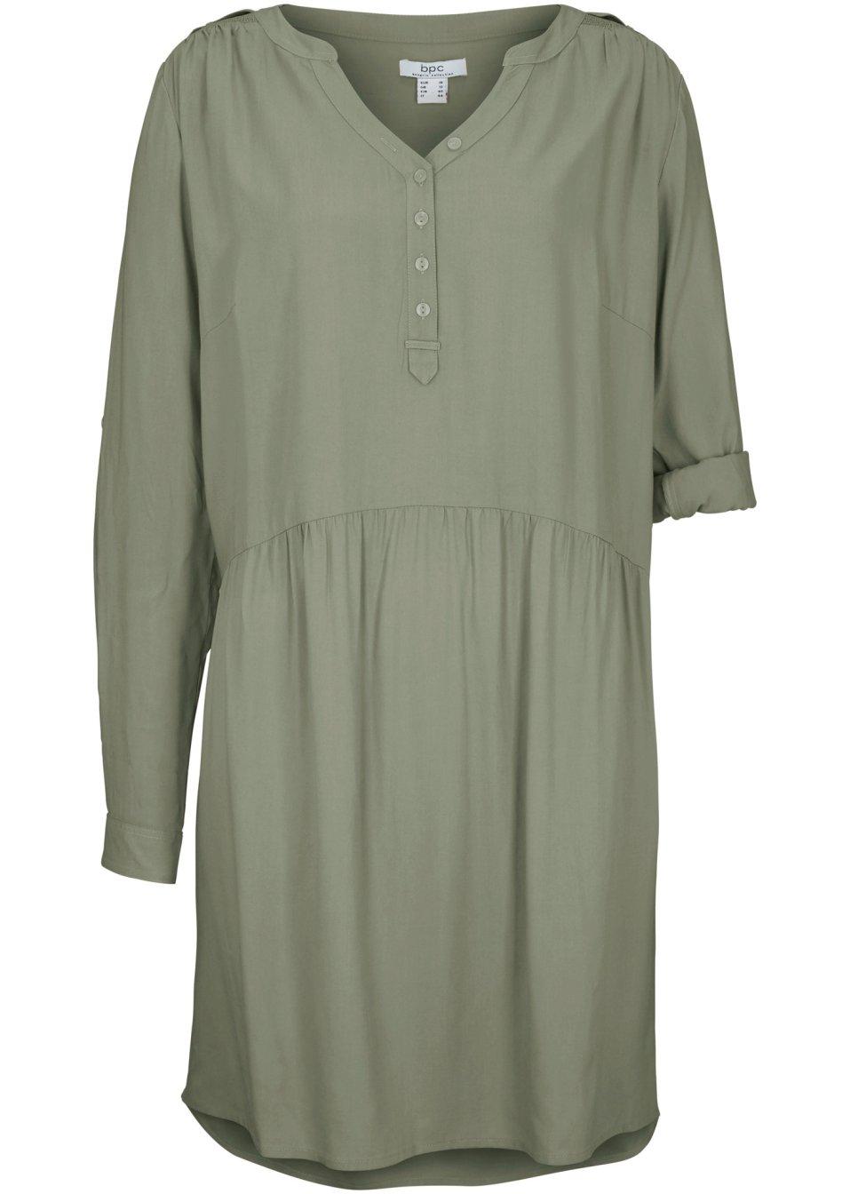 Körperumspielendes Blusenkleid aus Viskose - oliv KfEB8 PgSi2