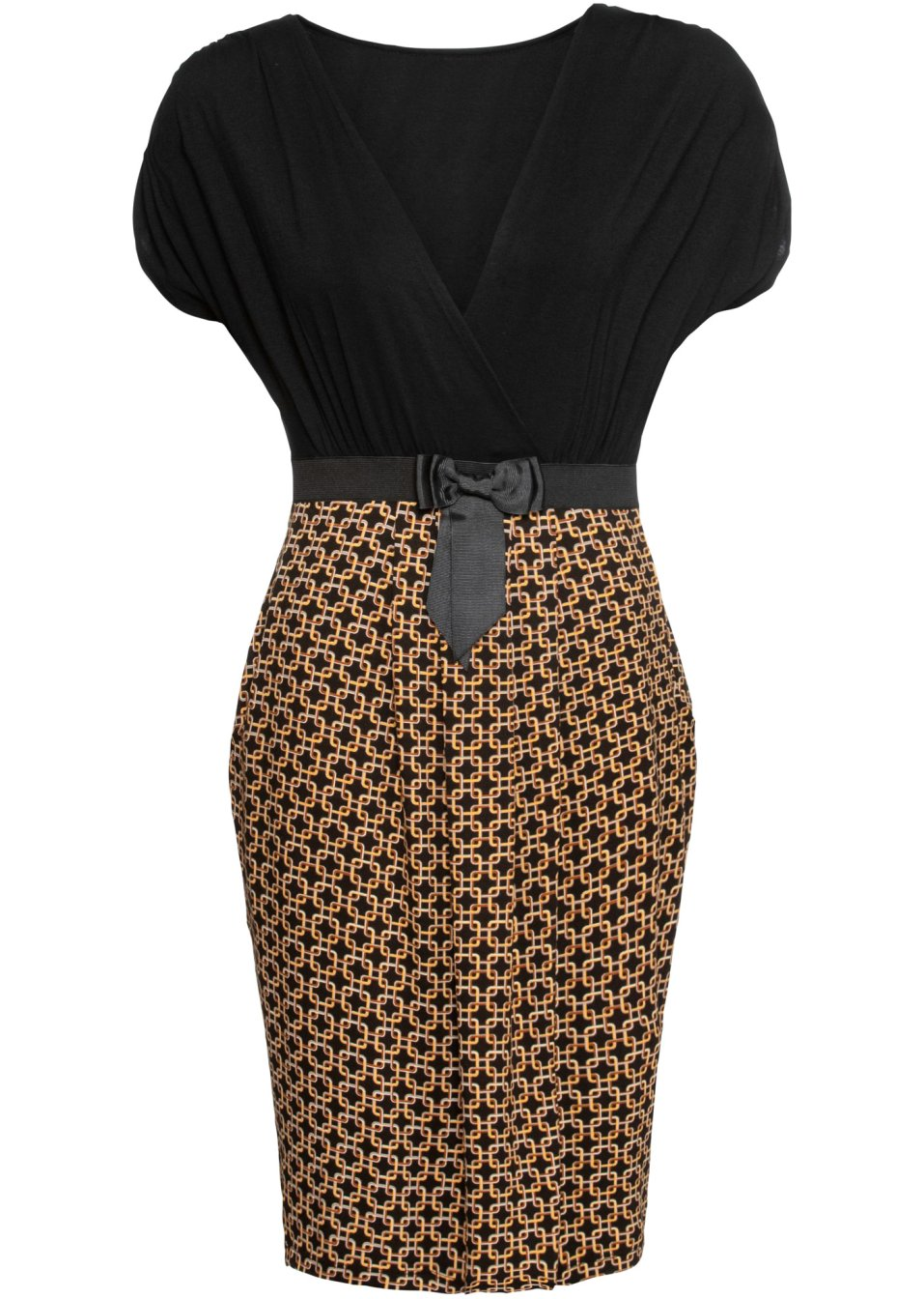 Shirtkleid mit erhöhter Taille und aufgenähtem Schleifengürtel - schwarz/braun gemustert uSV1T FKWfo