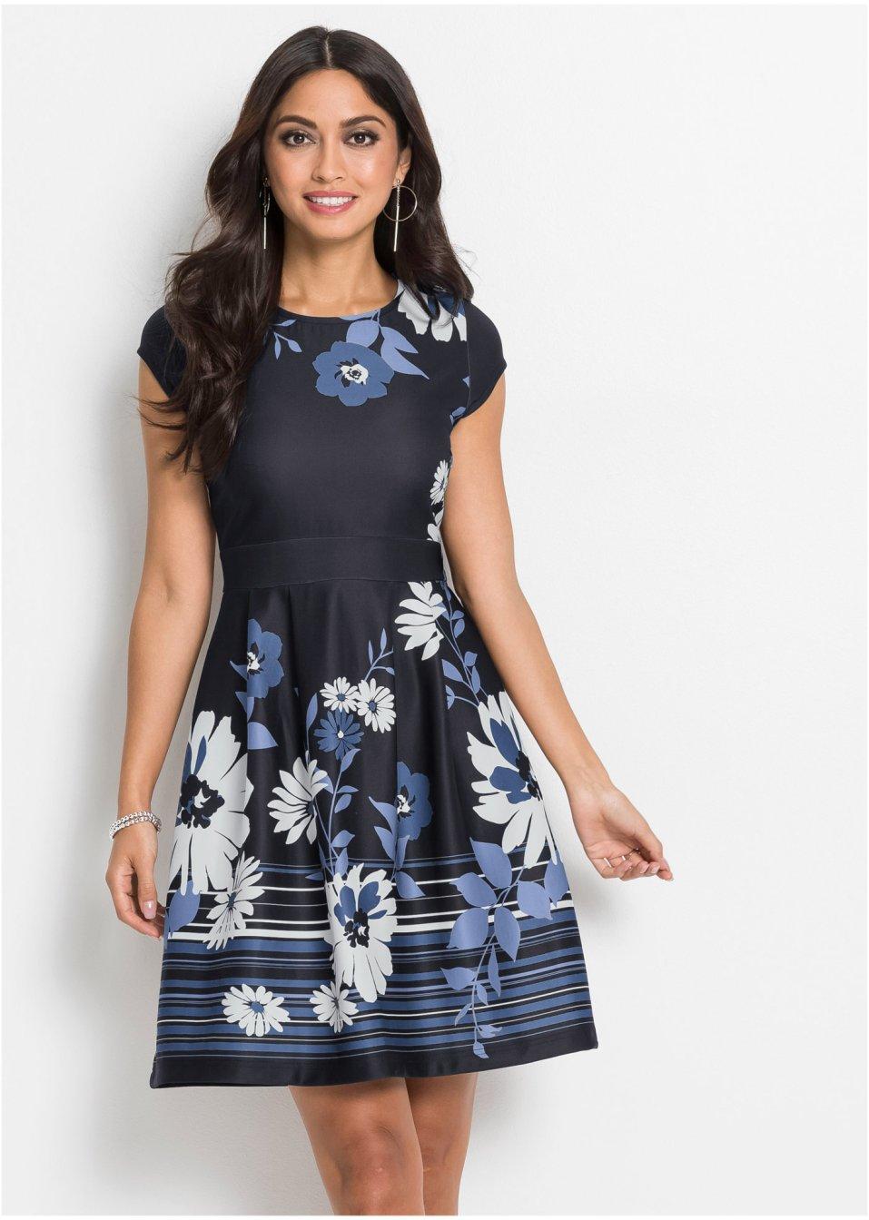 Kleid mit Blumenmuster schwarz/blau/weiß - BODYFLIRT ...