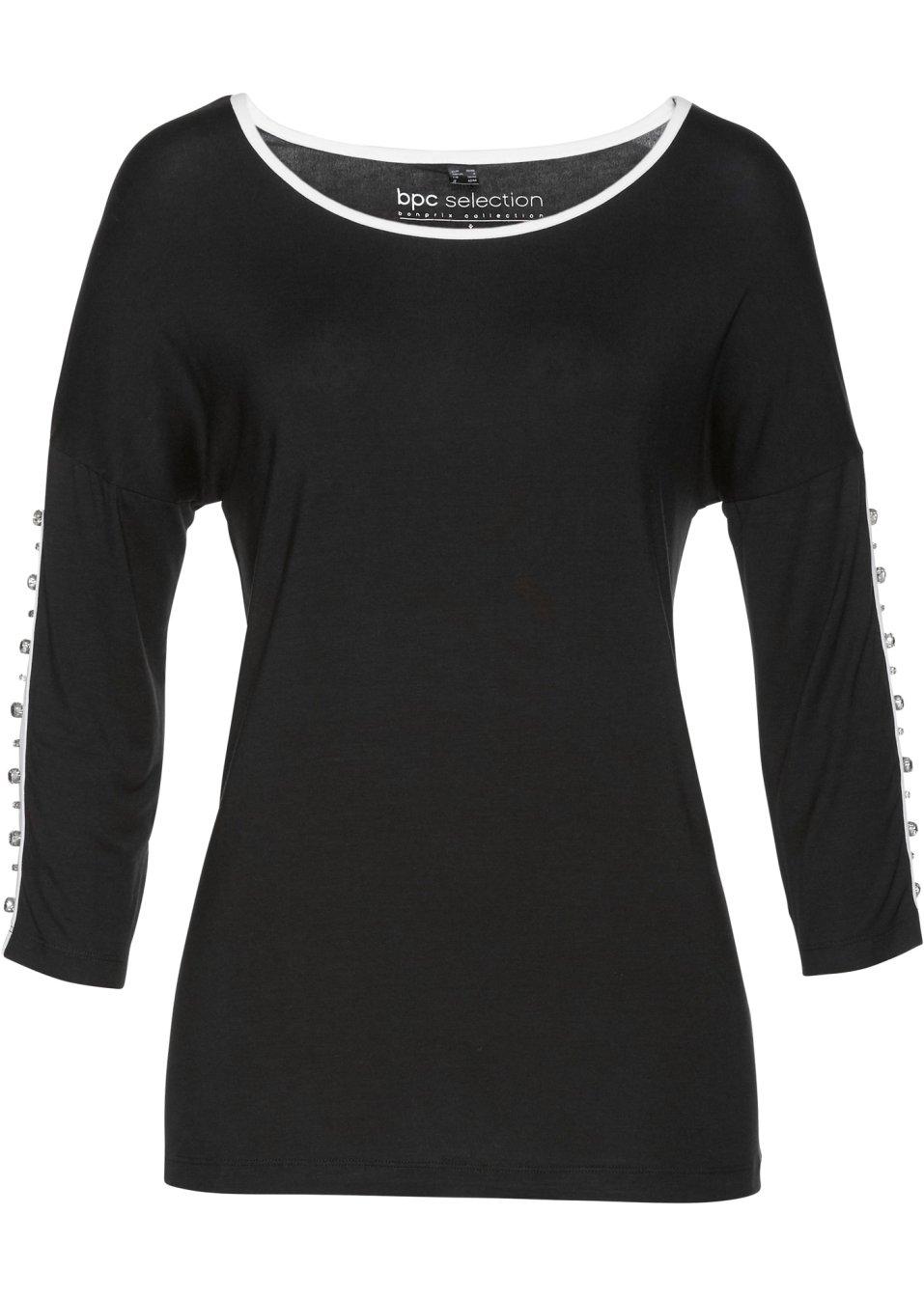 Shirt schwarz/weiß/silber - Damen - bonprix.de nihfQ UCQHb