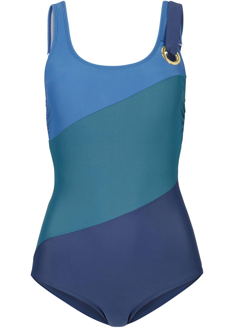 Sehr eleganter Badeanzug in schmeichelnden Farben - dunkelblau/grün zcxUZ 2ShoC