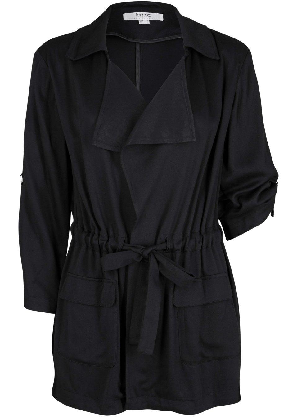 Modische Viskose Blusenjacke mit Revers - schwarz msN9u w4PXd