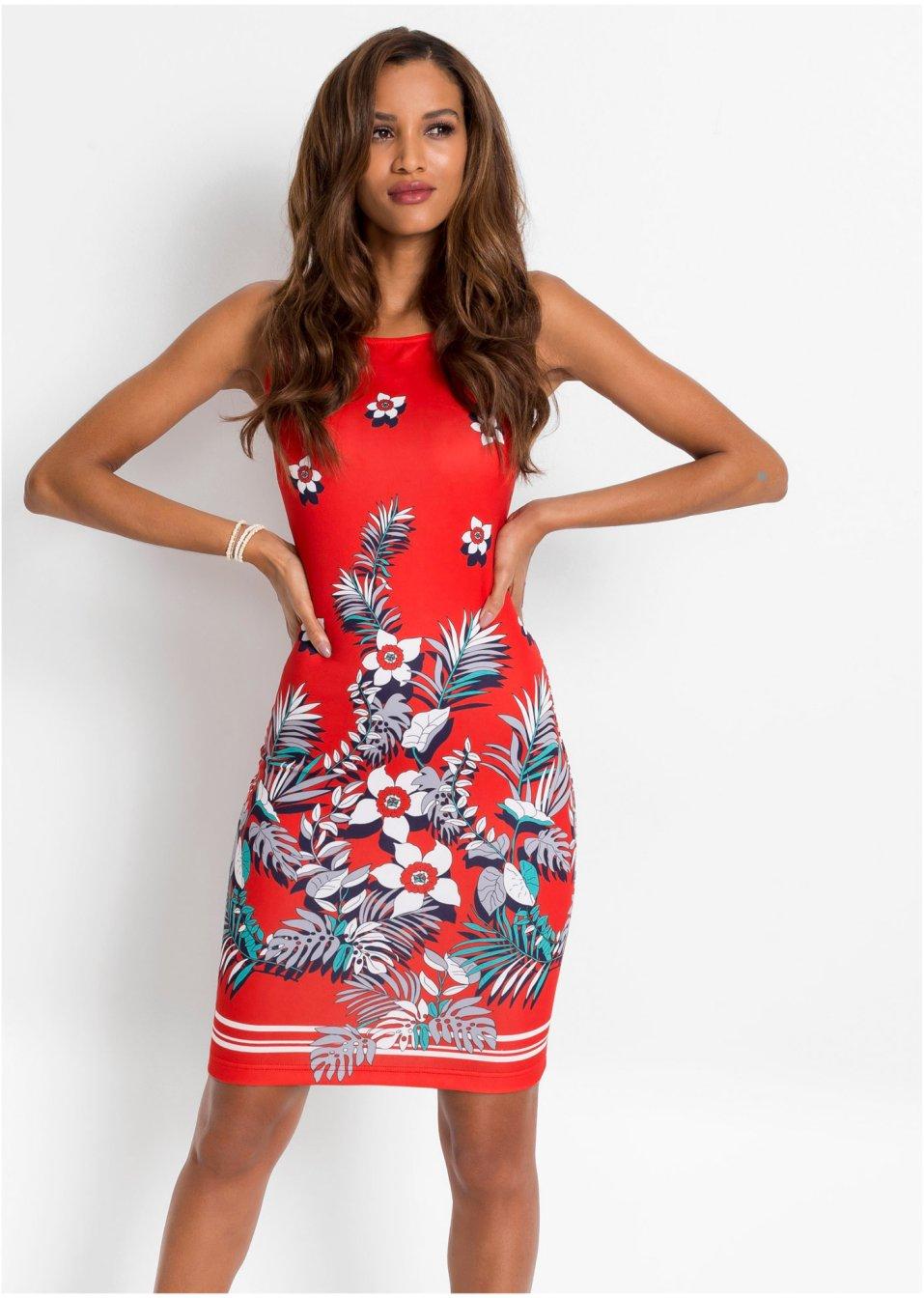 Kleid mit Blumen rot/weiß geblümt - Damen - BODYFLIRT ...