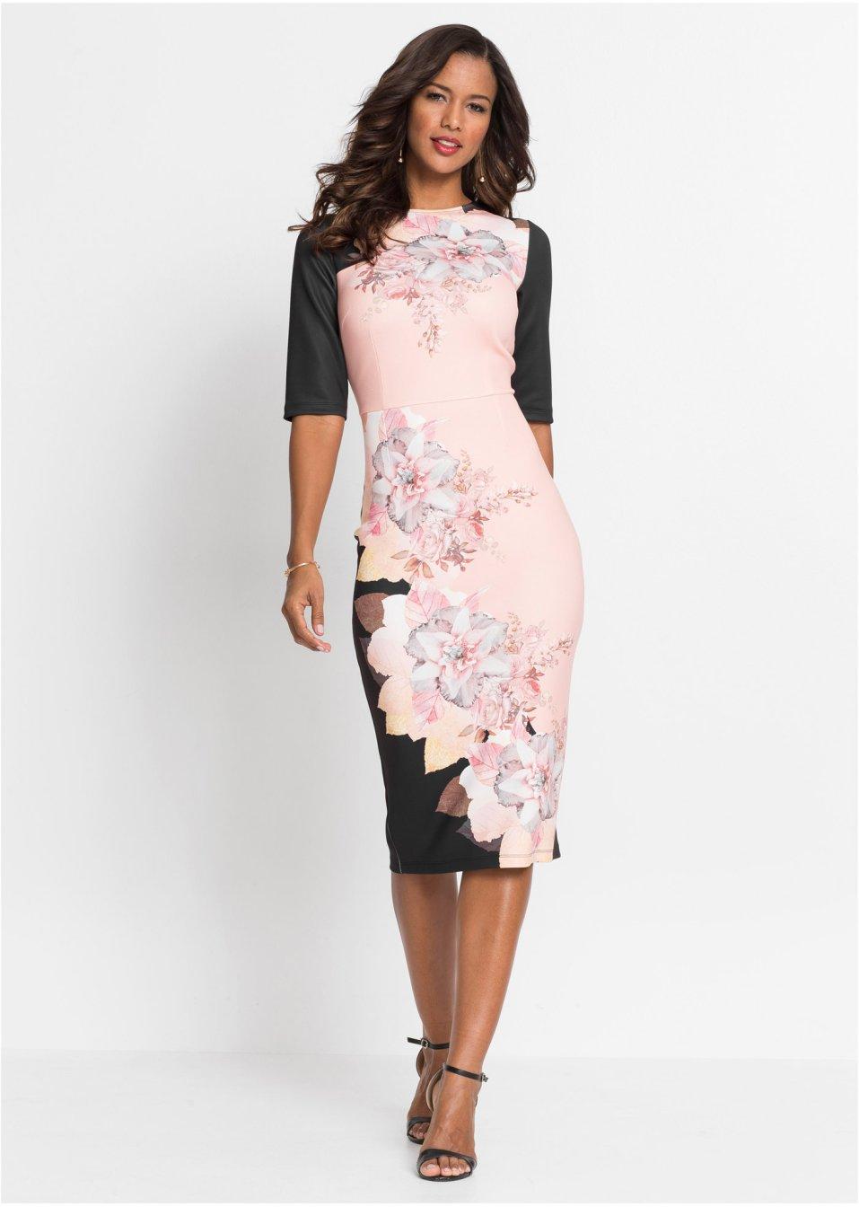 Kleid mit Blumendruck schwarz/rosa - BODYFLIRT boutique ...