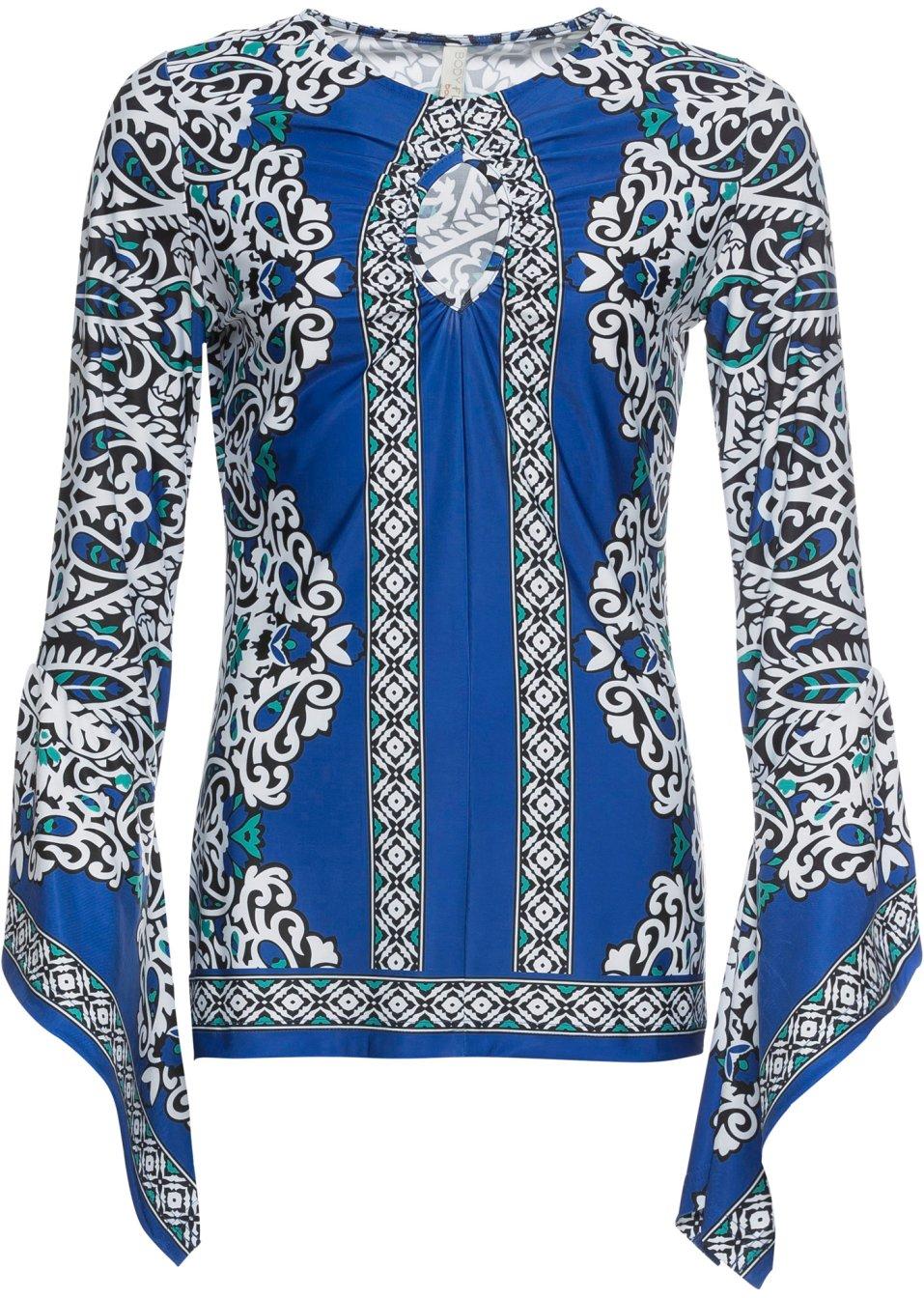 Shirtkleid mit Trompeten-Ärmel blau/weiß gemustert - Damen - bonprix.de Ak3mP P7s1v