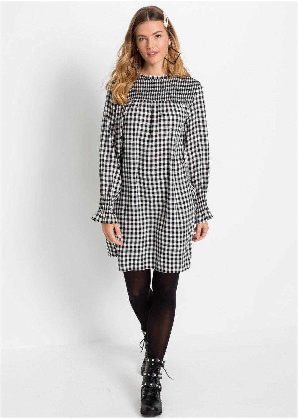 Kleid schwarz/weiß kariert - Damen - bonprix.de