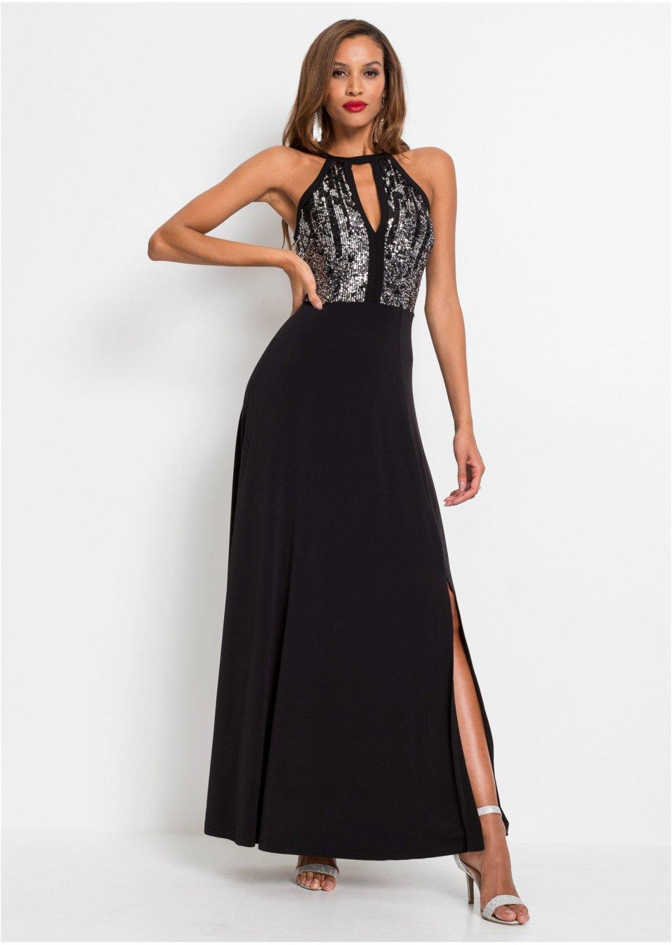 Neckholder-Kleid mit Pailletten schwarz - BODYFLIRT ...