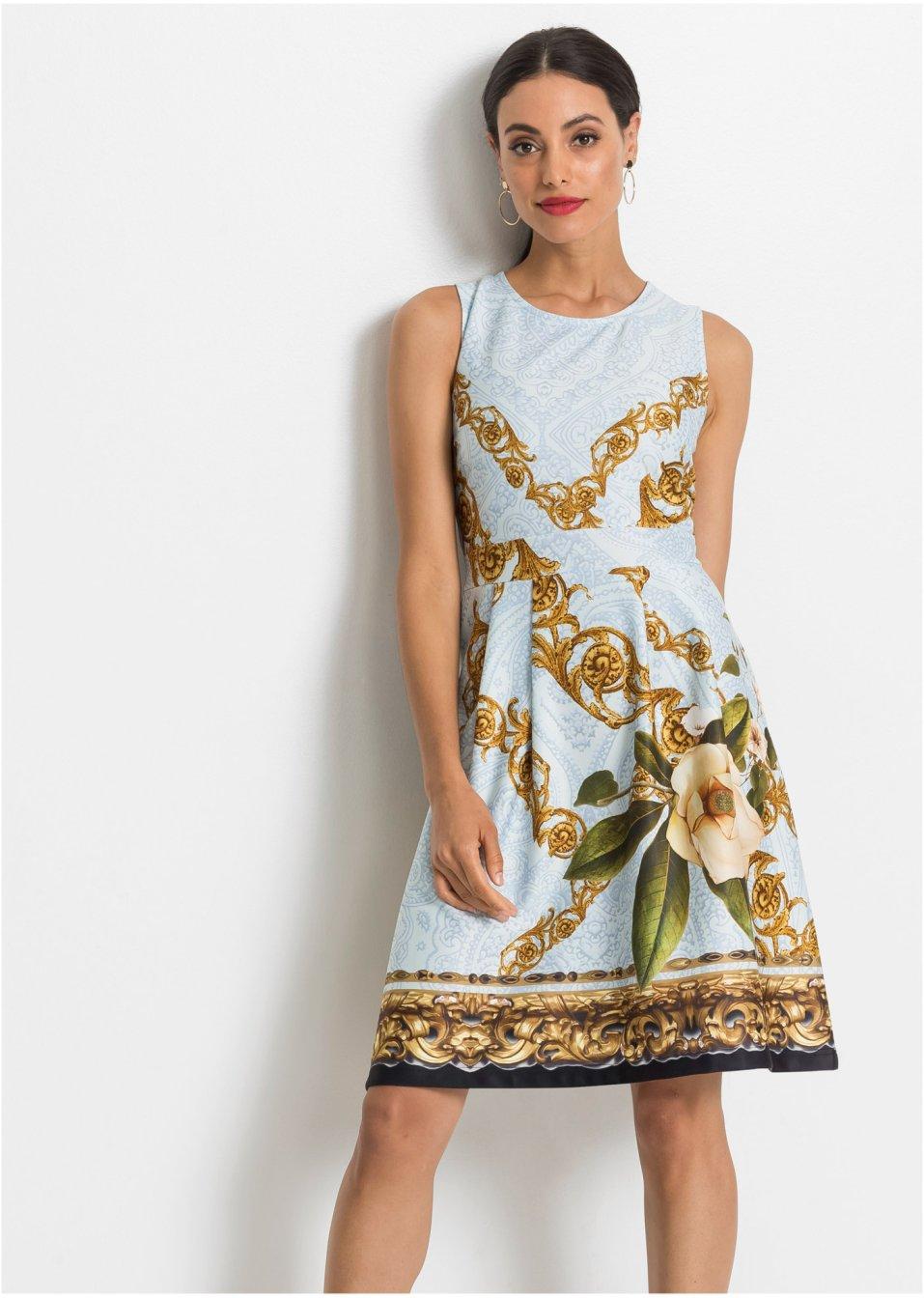 Kleid mit Muster hellblau gemustert - BODYFLIRT boutique ...