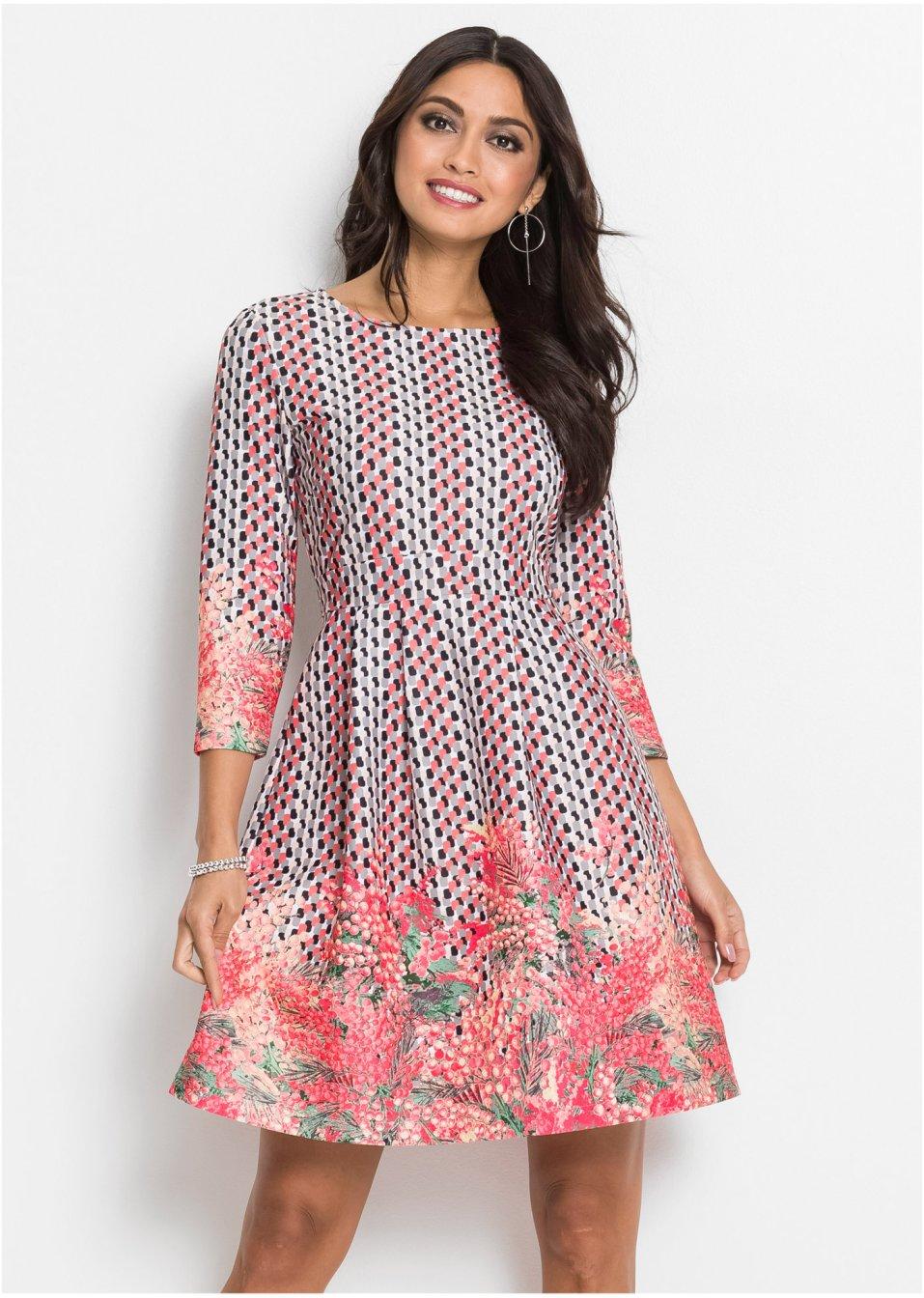 Kleid mit Blumen pink/schwarz/hellgrau - BODYFLIRT ...