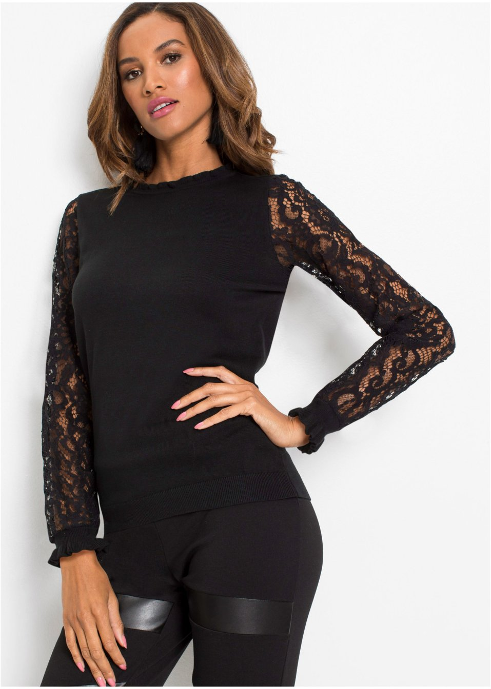 Pullover mit Spitze schwarz - Damen - bonprix.de
