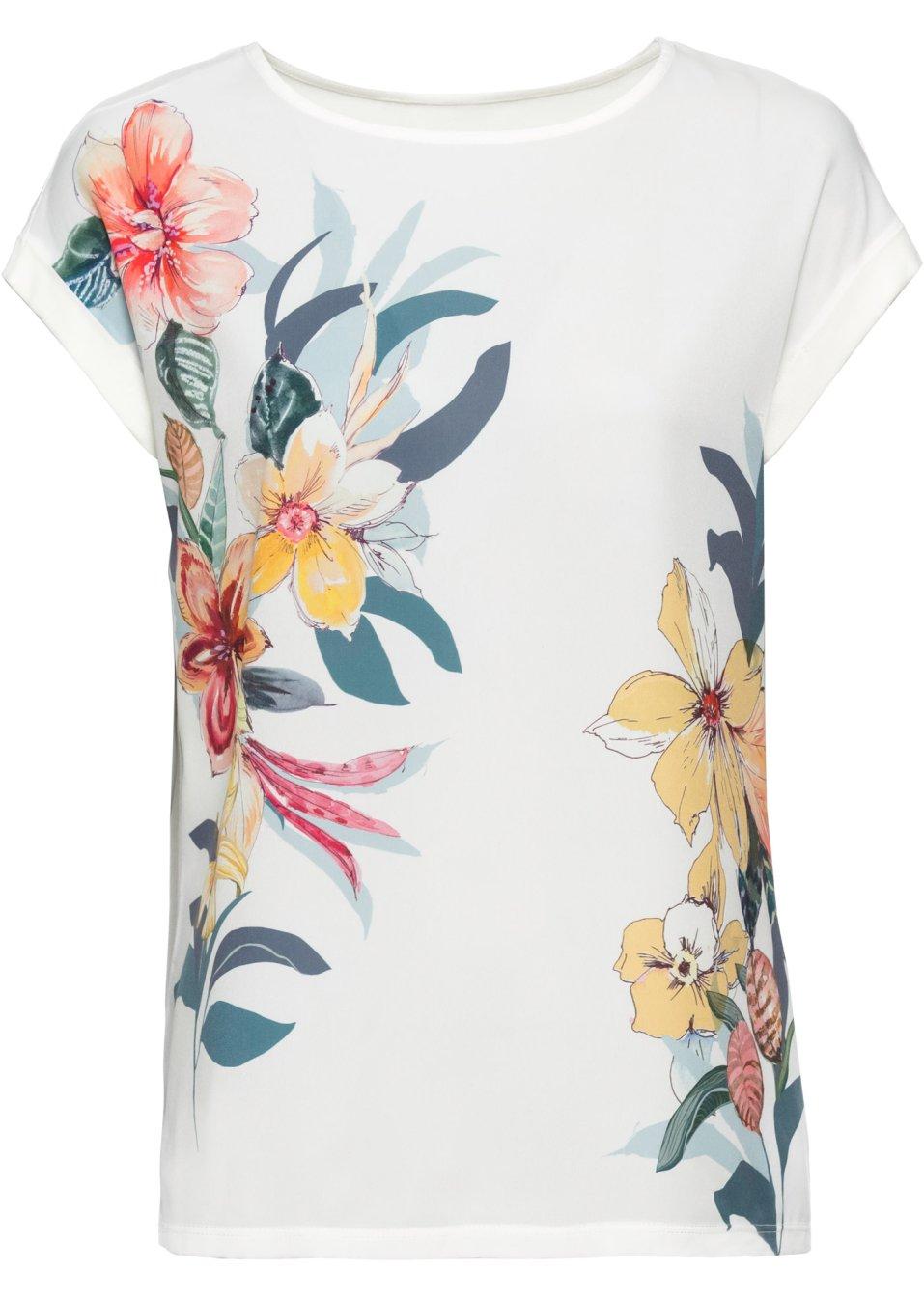 bedrucktes Shirt im Material-Mix wollweiß geblümt - BODYFLIRT online kaufen - bonprix.de 8Ftxd WNuUr