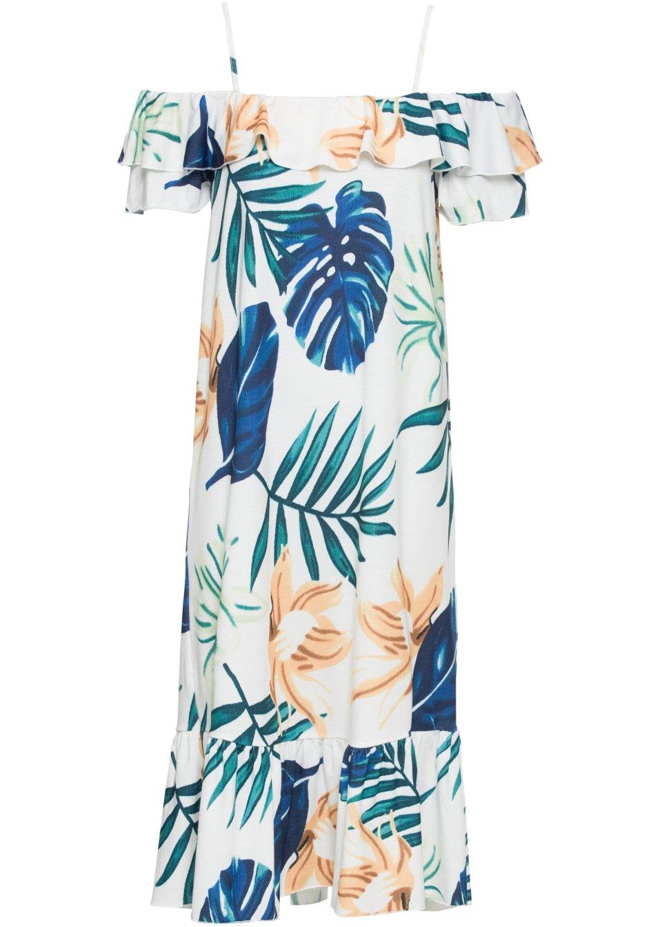 Cold-Shoulder-Kleid mit Volants mit geradem Saum - wollweiß geblümt N2iiv cJHLJ