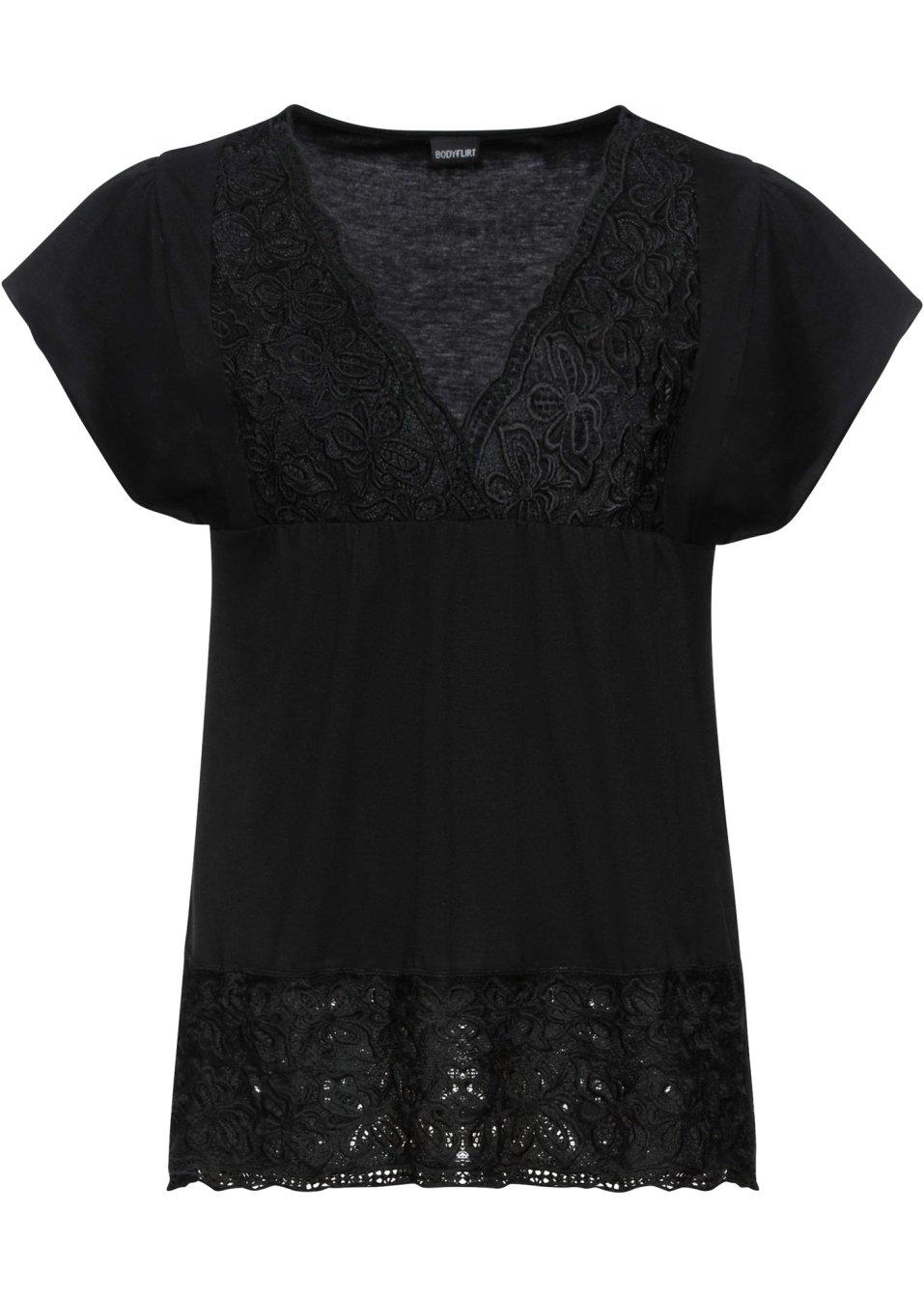 Shirt mit Spitzen-Ausschnitt und Spitze vorne - schwarz 0k2Zf lOntt