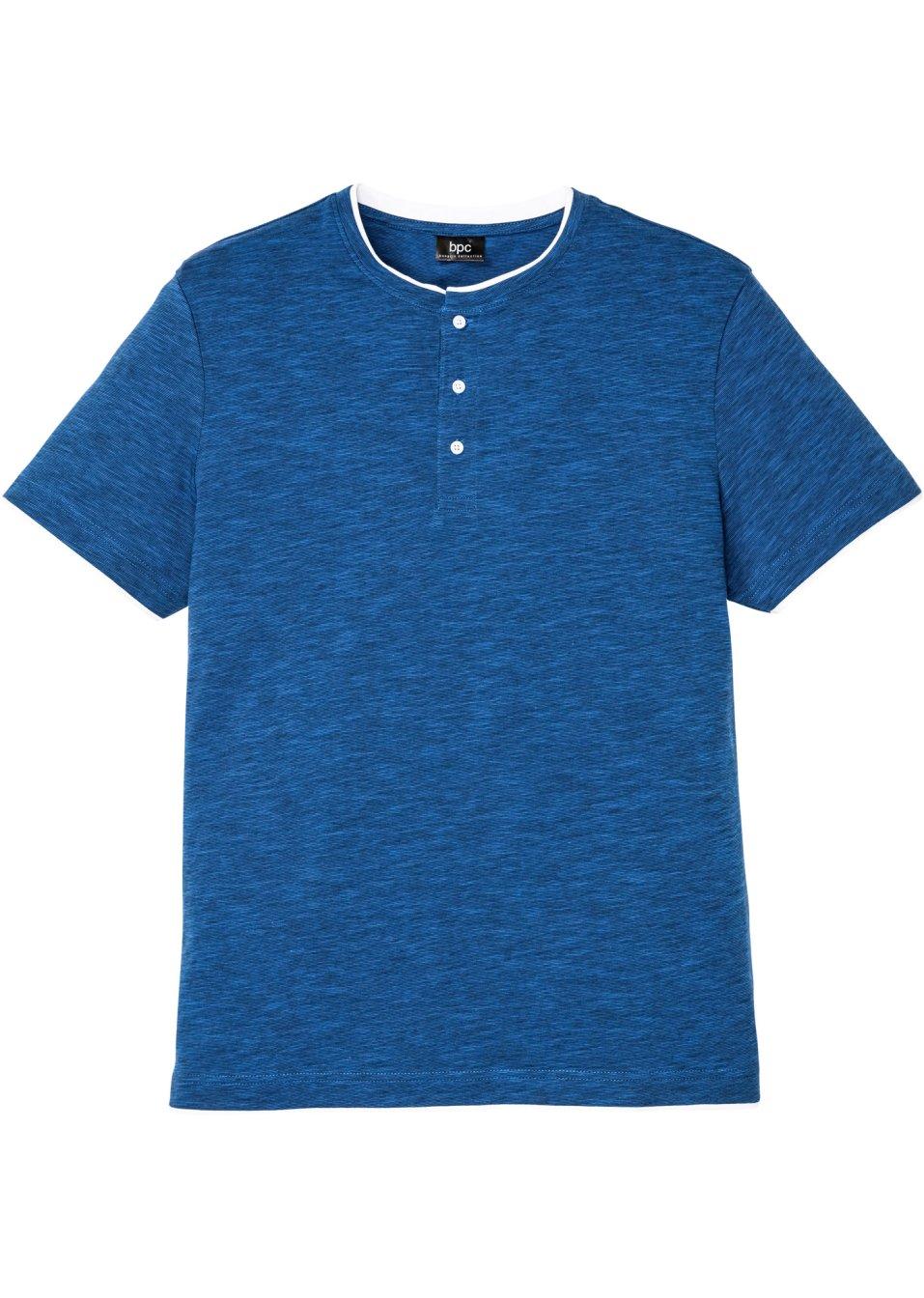 Henleyshirt Kurzarm mit angesagtem Ausschnitt. - blau meliert VfeBz qSCNw