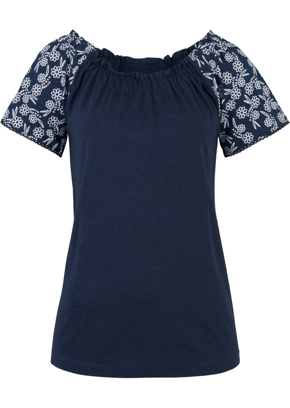 Carmenshirt bedruckt dunkelblau - Damen - bonprix.de Sla9a dxcYJ
