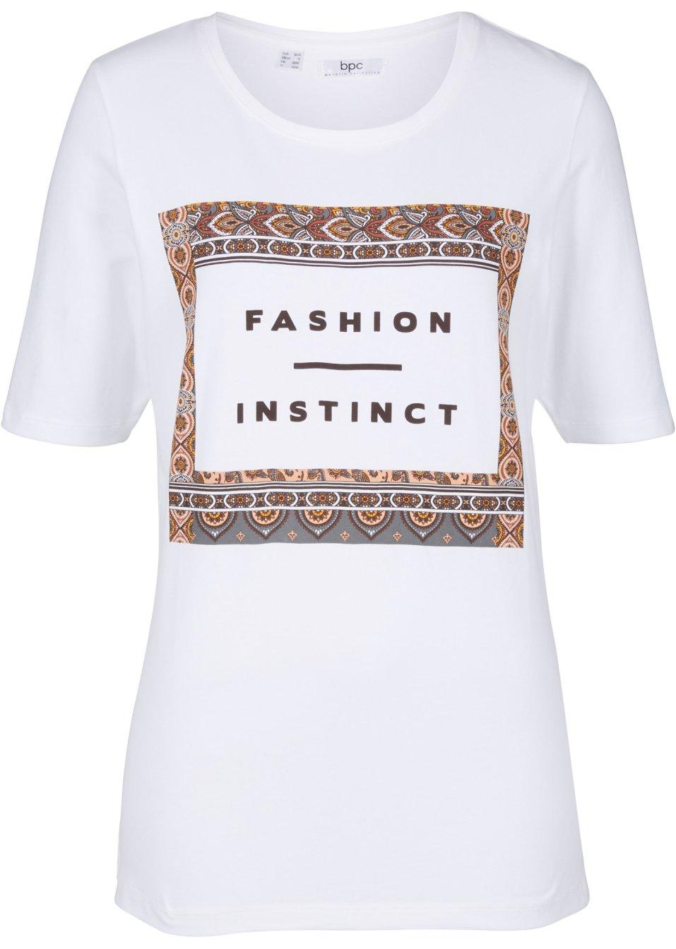 Elastisches Shirt mit einem dekorativem Druck - weiß bedruckt S6lrL ElHKJ