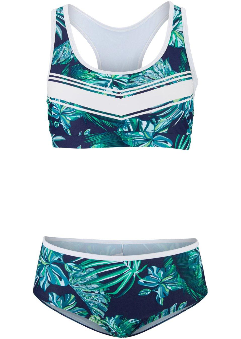 Modischer Bustier Bikini mit aufwendigem Druck - blau/grün bedruckt Gvv3c IuLrk