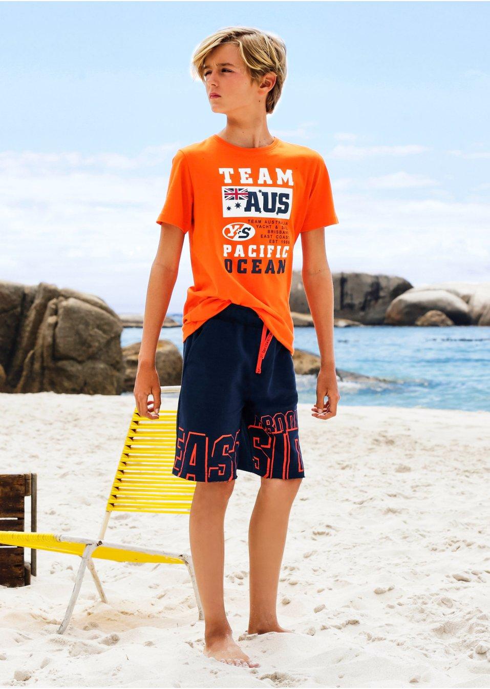 Lässiges T-Shirt in verschiedenen Varianten - weiß/orange/blau gestreift + orange bedruckt