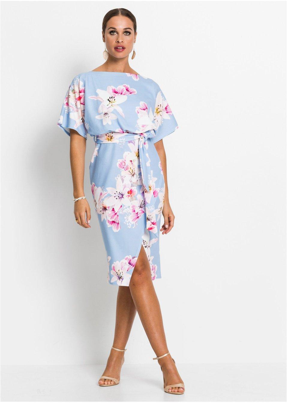 Kleid mit Wickeleffekt hellblau/rosa geblümt - BODYFLIRT ...