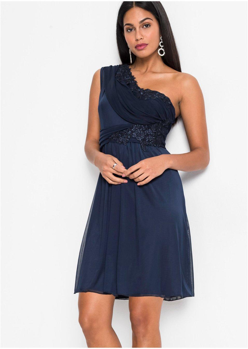 One-Shoulder-Kleid mit Spitze dunkelblau - Damen ...