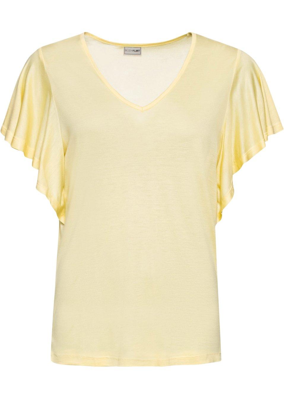 Feminines Shirt mit kurzen Volantärmeln - hellgelb njClg lUOqe