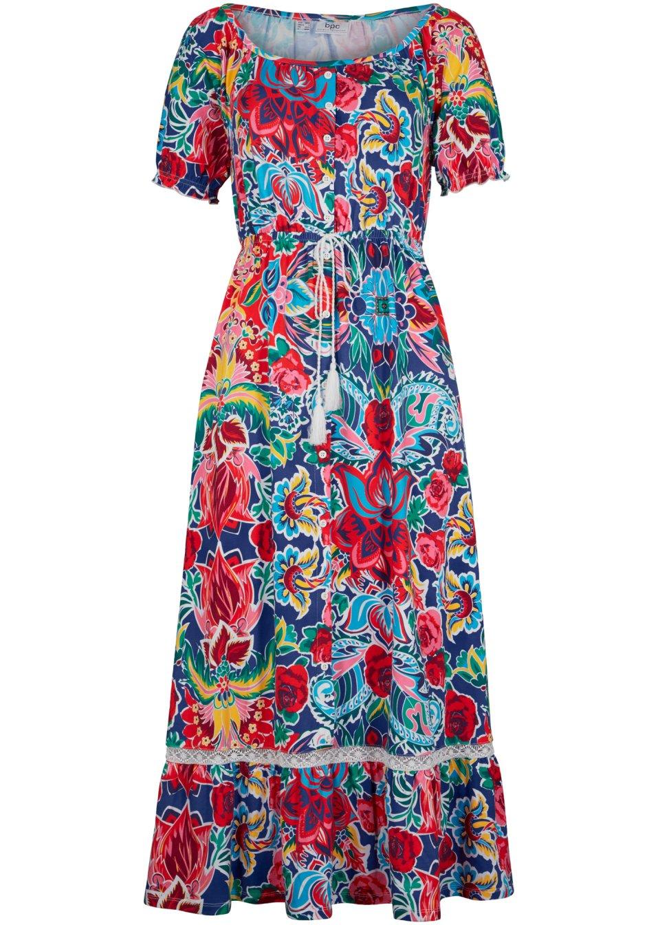 Komfortables Kleid aus angenehmer Baumwoll-Stretch- Qualität und elastischer Taille - gemustert iCj6s nDxem