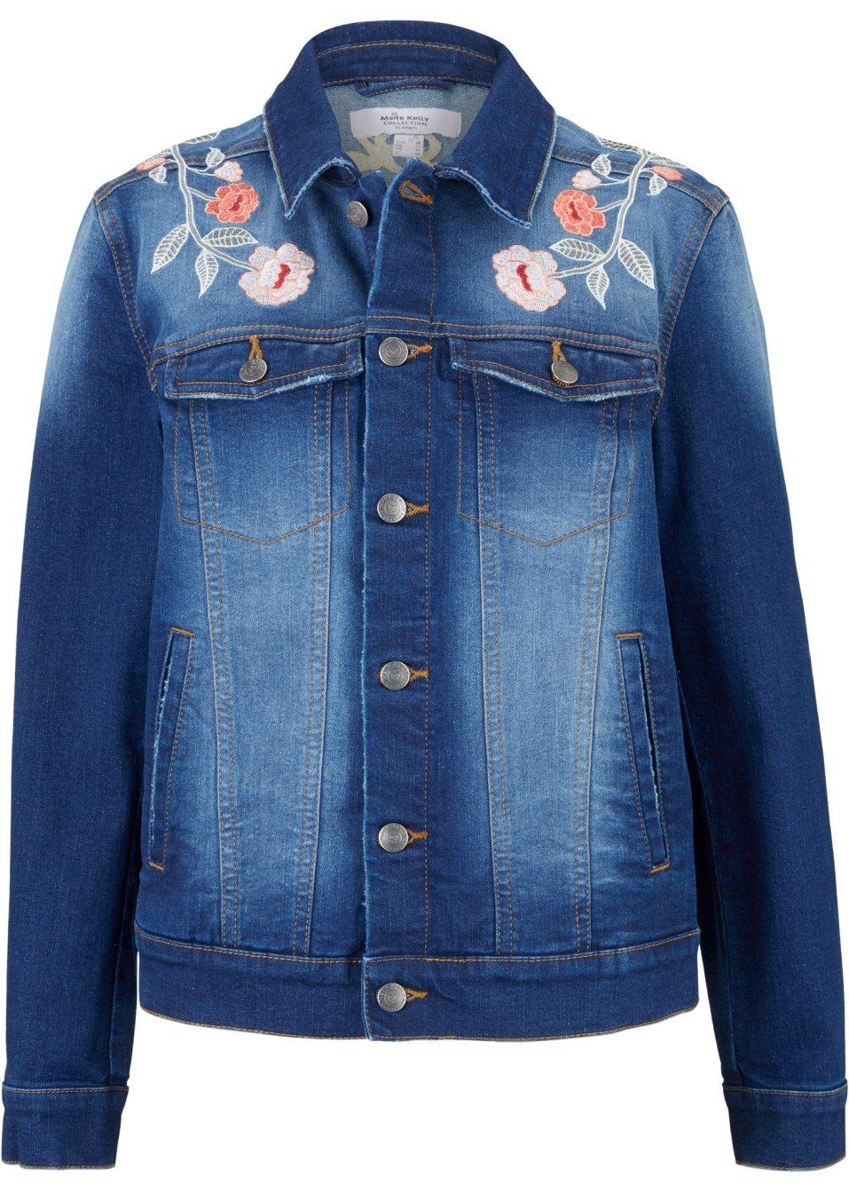 Bestickte Jeansjacke mit Stretch - Anteil - designt von Maite Kelly - blue stone HQ0Ry yuj39