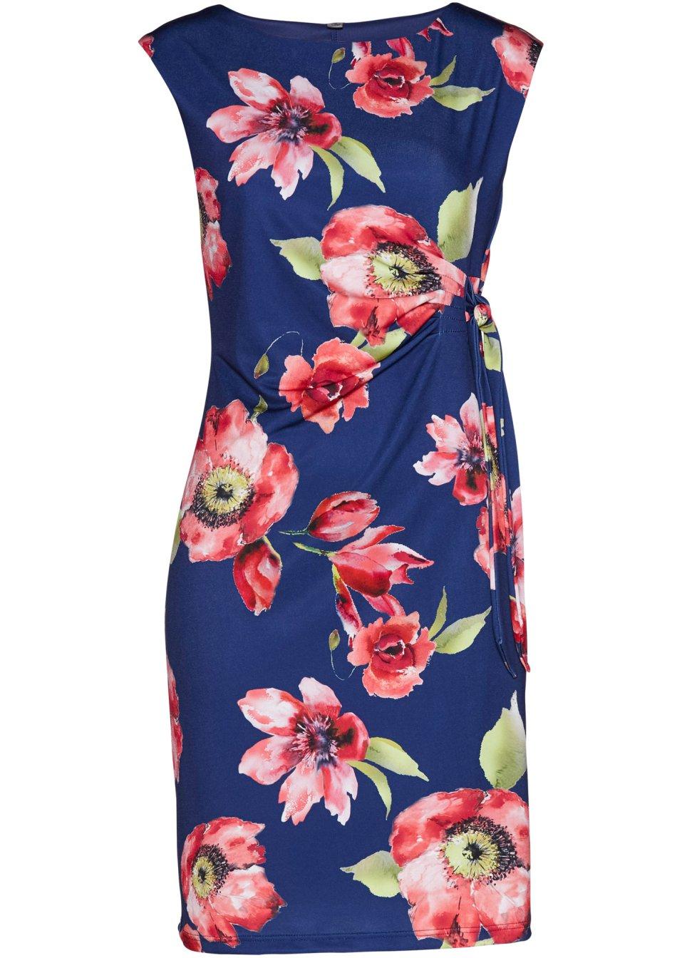 Kleid dunkelblau/granatrot geblümt - bpc selection online kaufen - bonprix.de mfSFn 67pkz