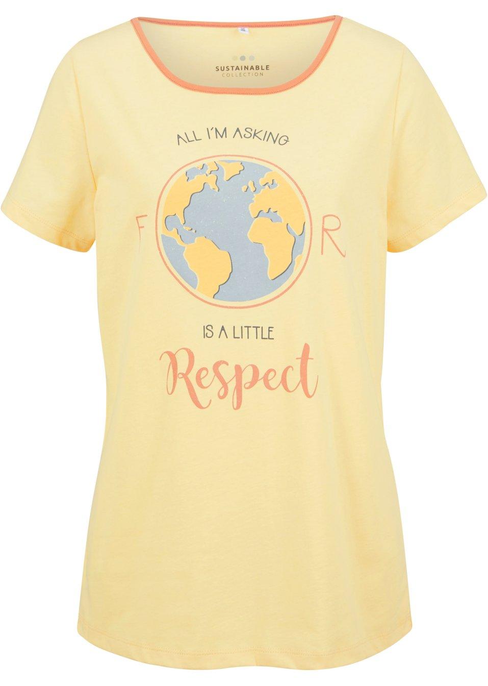 Hautfreundliches Shirt mit Naturfarben gefärbt und aus Bio- Baumwolle - hellgelb bedruckt y6IZX pqNHB