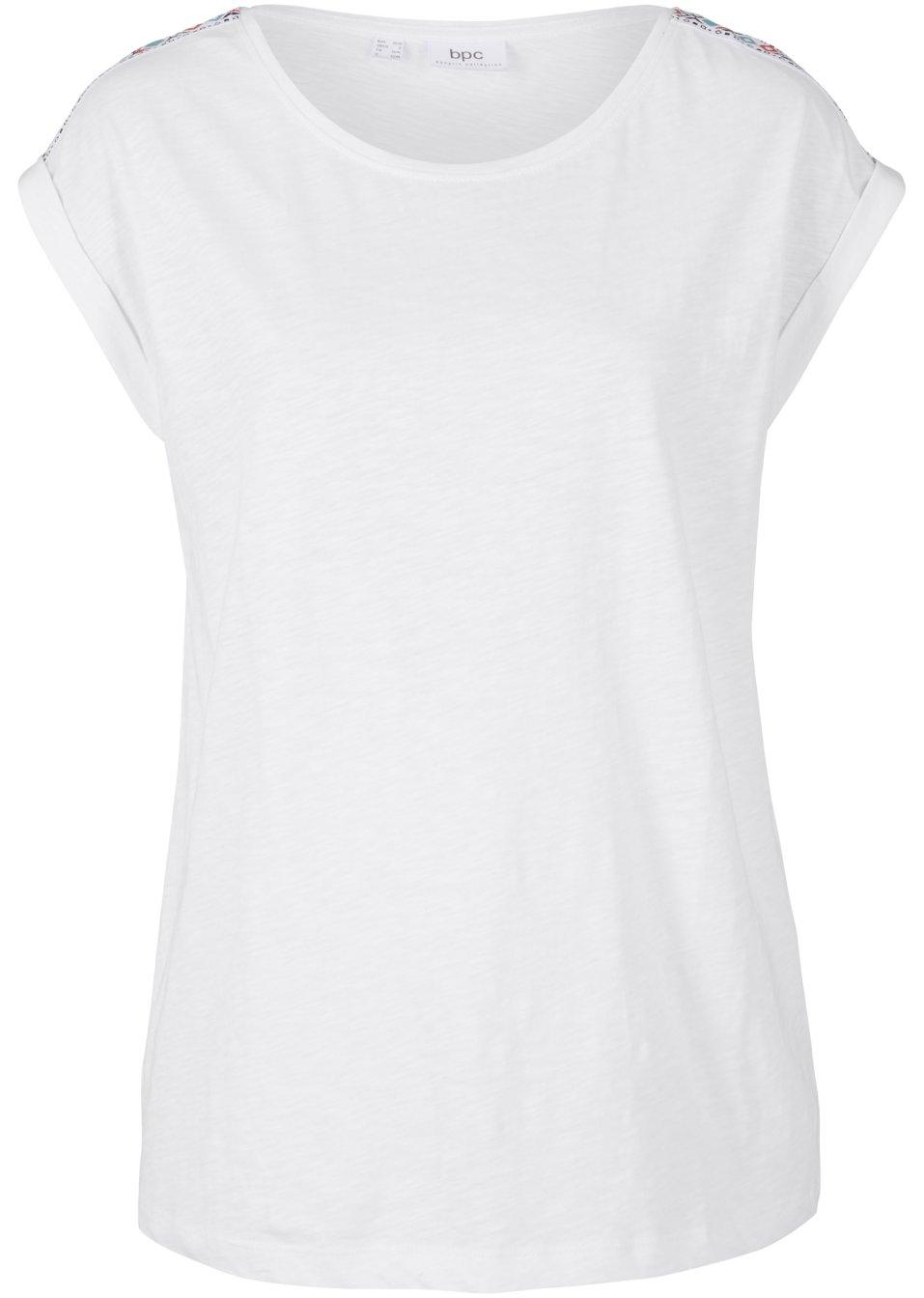 Baumwoll-Boxy-Shirt mit dekorativen Tape auf den Schultern. - weiß VMzaU fX1yD