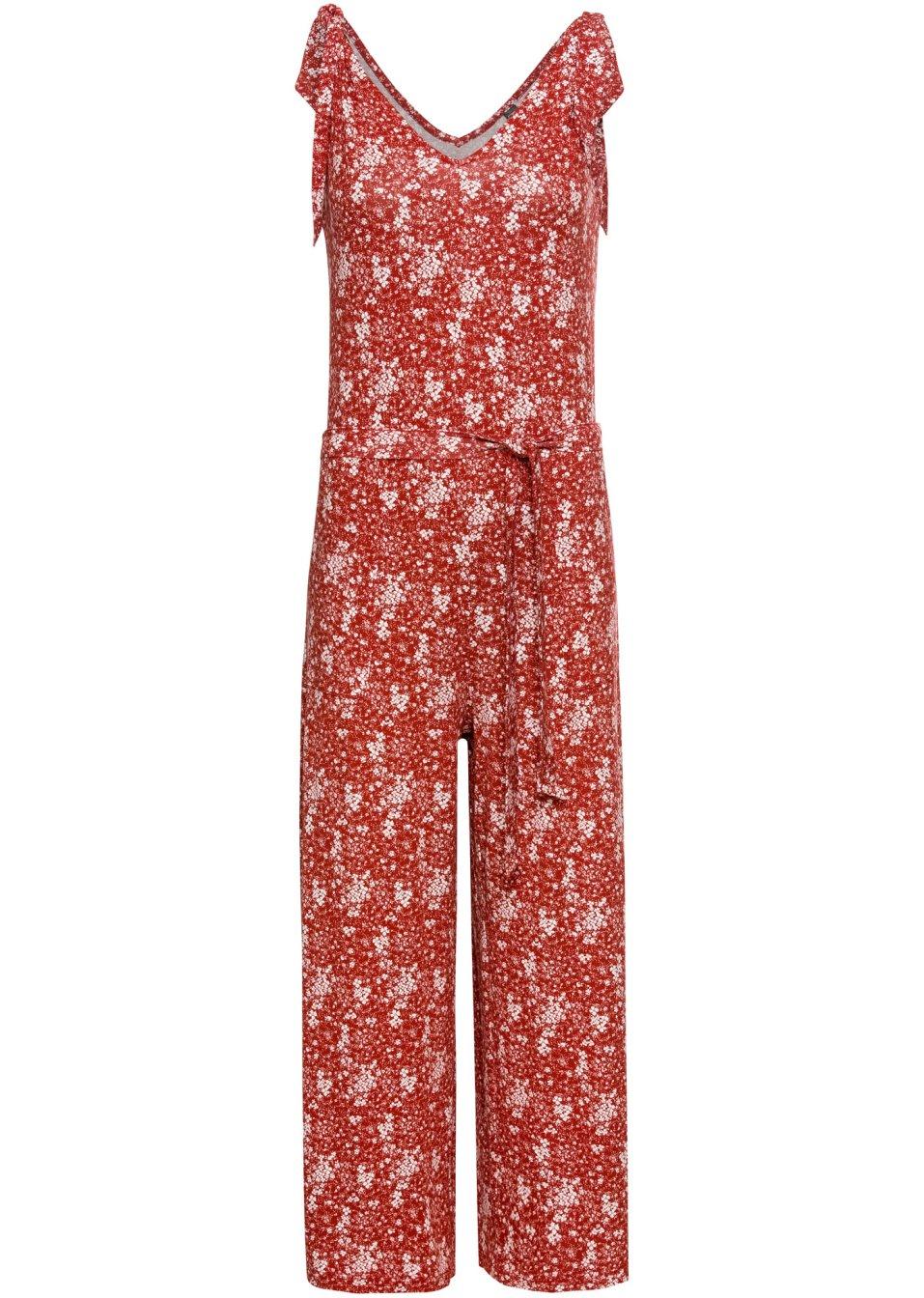 Jersey-Jumpsuit karminrot geblümt - Damen - RAINBOW - bonprix.de RNB2D 9M4T9