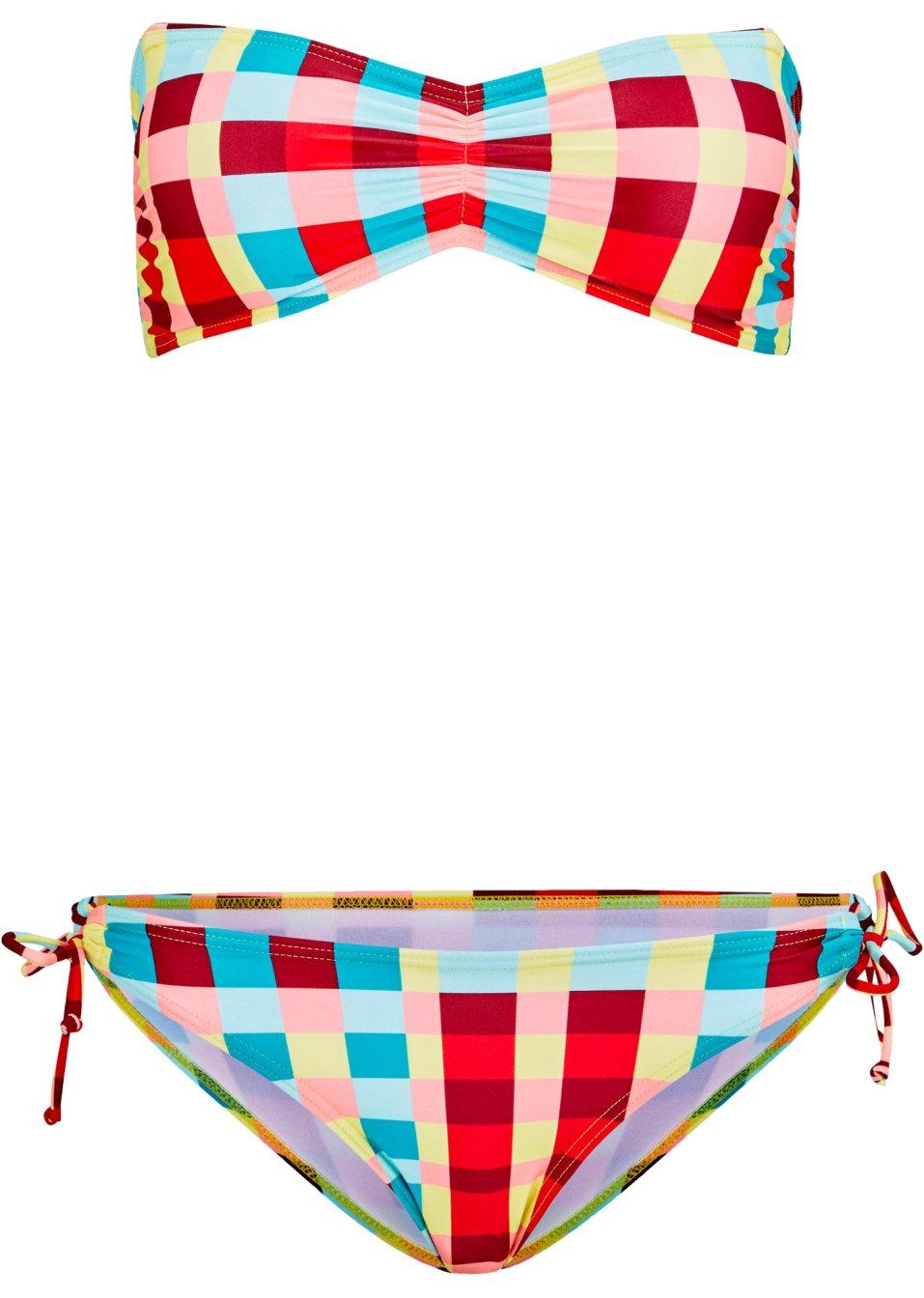 Modischer Bandeau Bikini aus nachhaltigem Econyl- A und B Cup geeignet - koralle/gelb/grün kariert fqlgK wIpXz