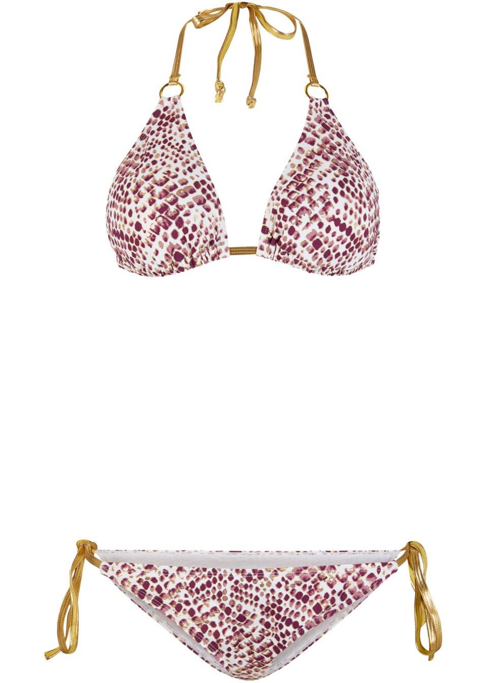 Hochmodischer Triangel Bikini mit Bindebändern und knapper Bikinihose - gold schlange bedruckt e11gT sCLij