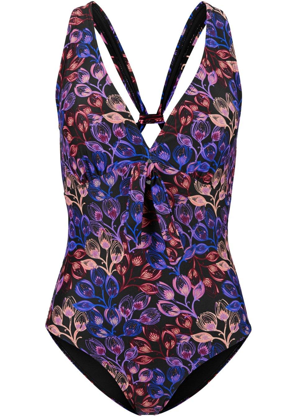 Modischer Badeanzug mit Schnürung am Ausschnitt und Boxer Rücken - schwarz/lila/pink bedruckt 3dlDL Vl5O7