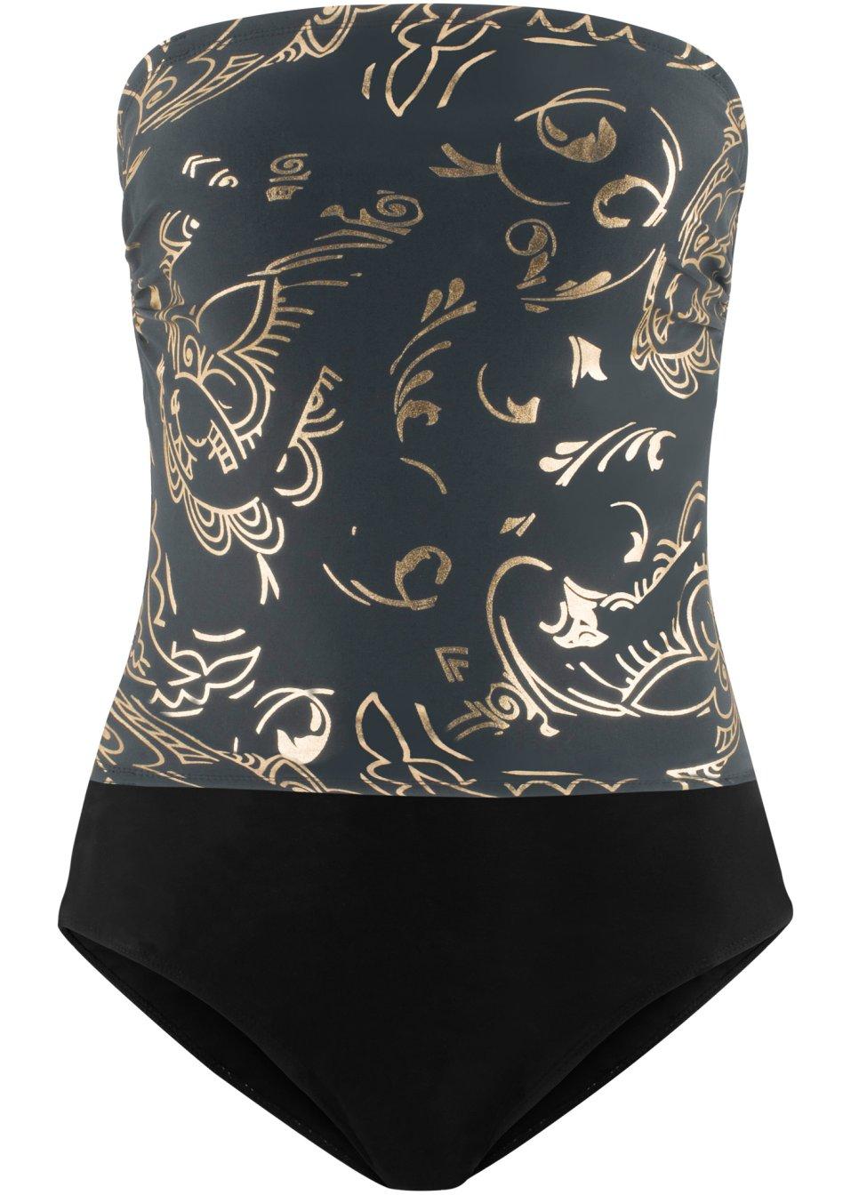 Schöner Badeanzug aus formendem Material - schwarz/gold NE7Vm YVOVd
