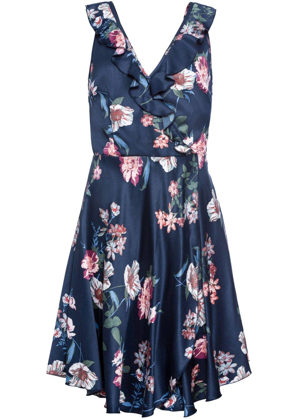 Ärmelloses Kleid mit Volant und modischem Druck - dunkelblau geblümt cJHLJ lPIz9