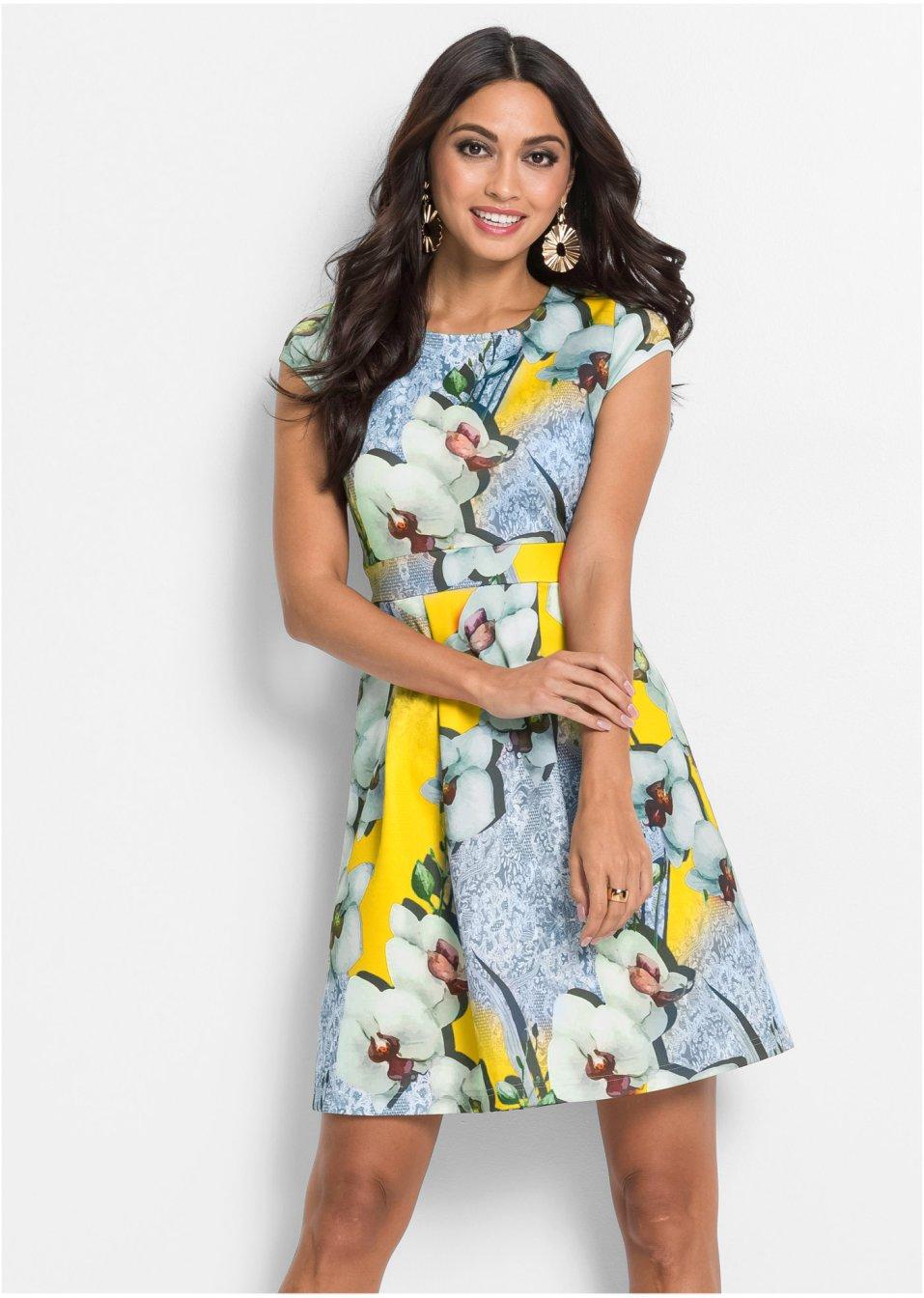 Kleid mit Muster gelb/türkis - BODYFLIRT boutique online ...