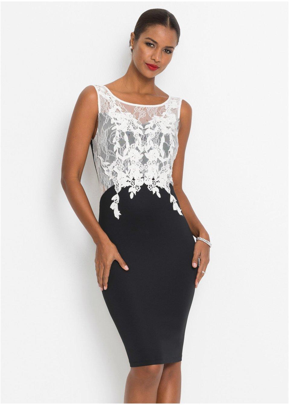Kleid mit Spitze schwarz/weiß - Damen - bonprix.de