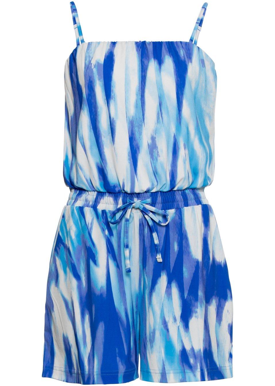 Kurzer Bandeau-Jumpsuit blau/weiß bedruckt - Damen - bonprix.de rV5Pr aUypn