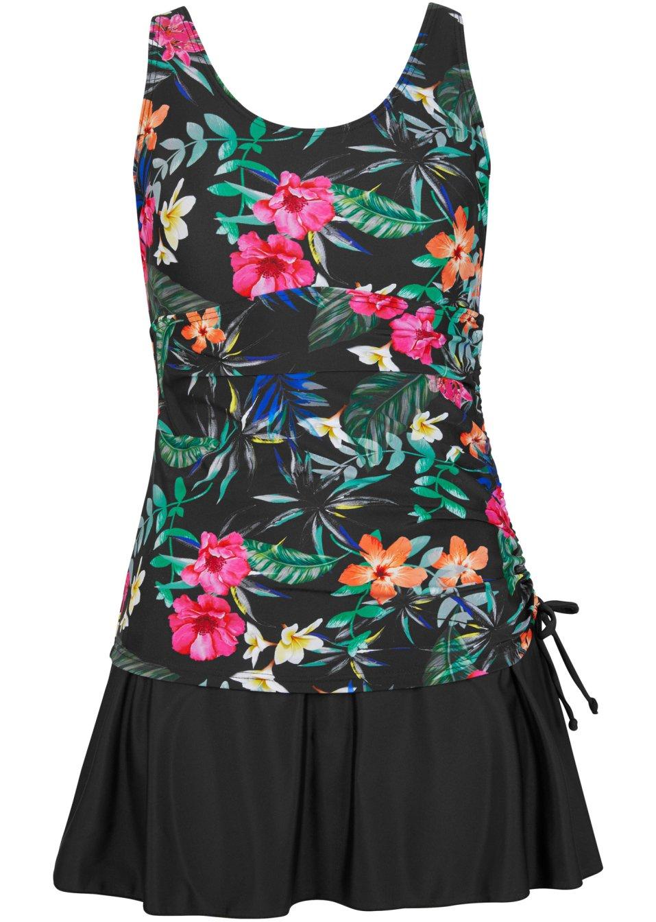 Hübsches Badekleid mit angesetzem Rock - schwarz/pink/grün bedruckt MkYCf lHTwX