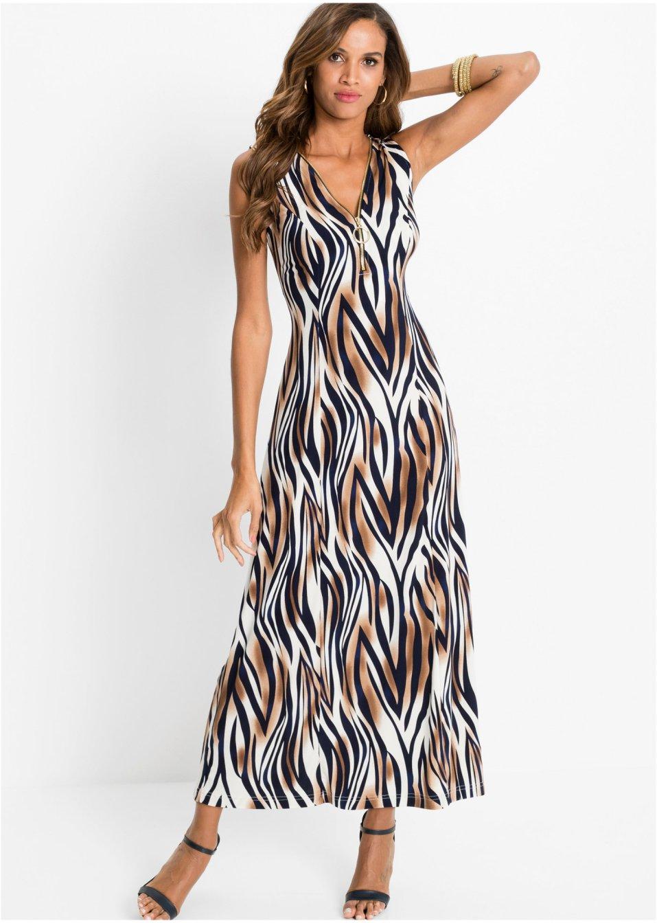 Stretch-Kleid braun/weiß/blau animal bedruckt - Damen ...