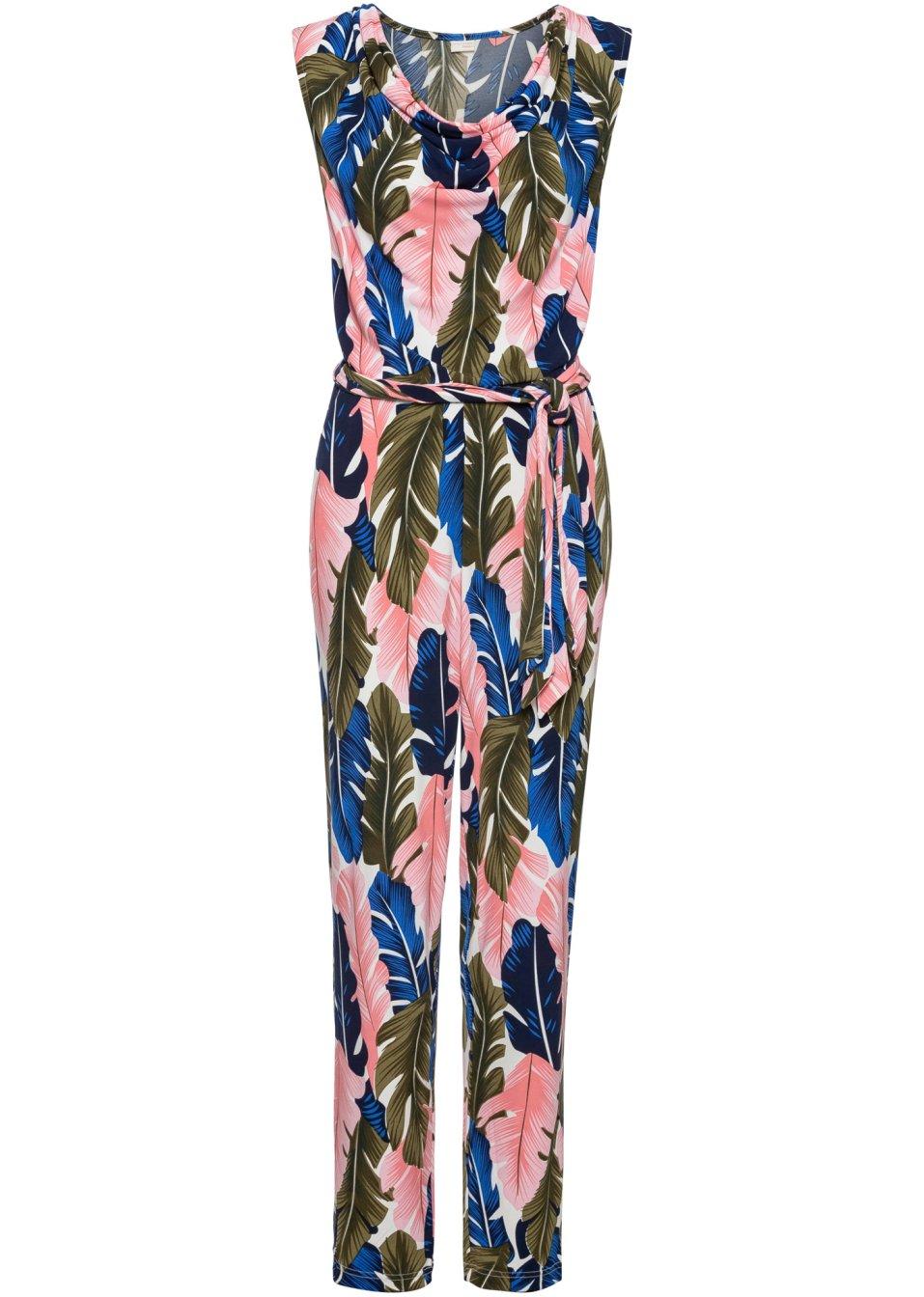 Jumpsuit Wasserfallausschnitt rosa/blau/grün bunt bedruckt - Damen - BODYFLIRT boutique - bonprix.de fbLgy kdZEs