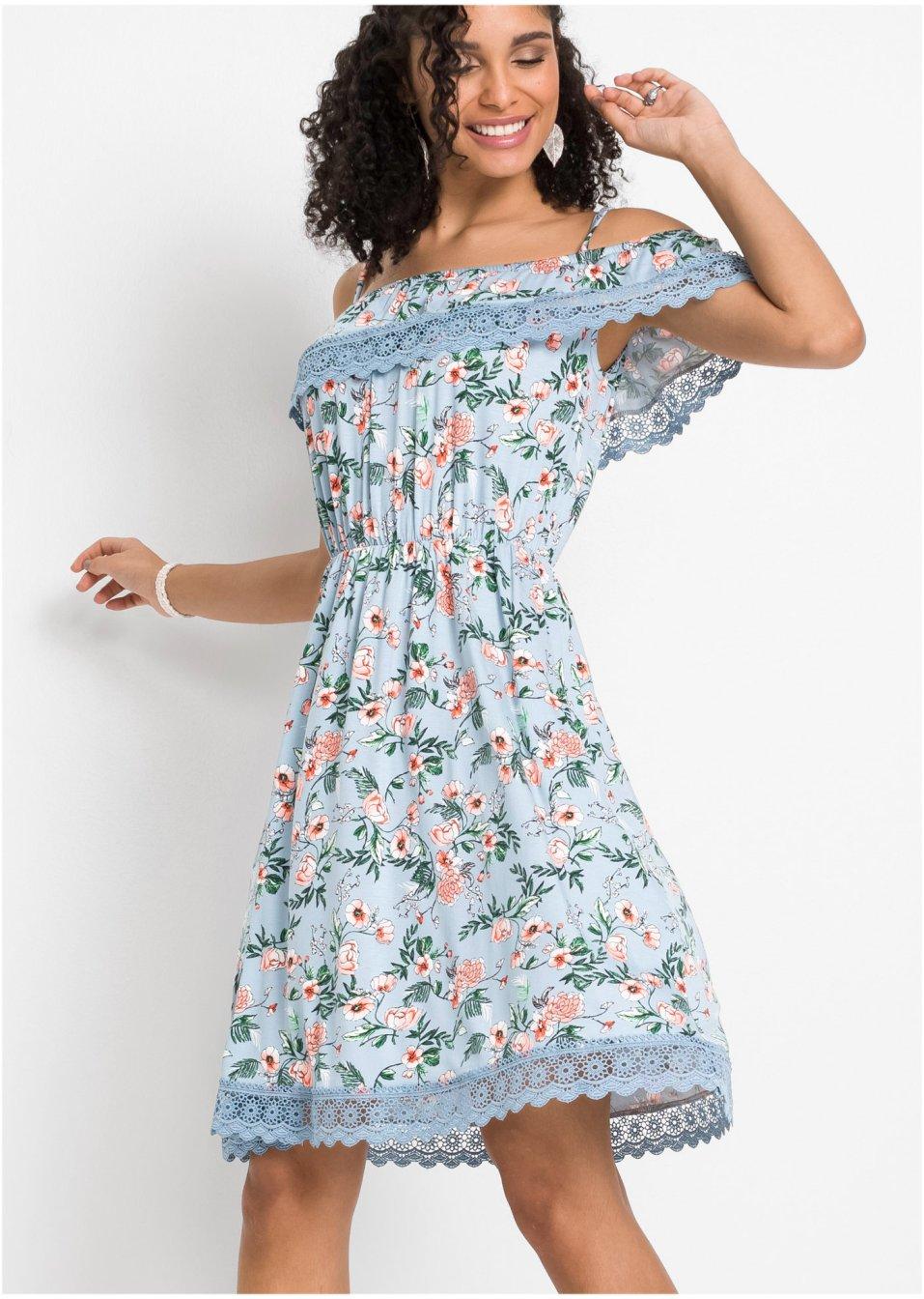 bedrucktes kleid mit spitze hellblau geblümt - damen