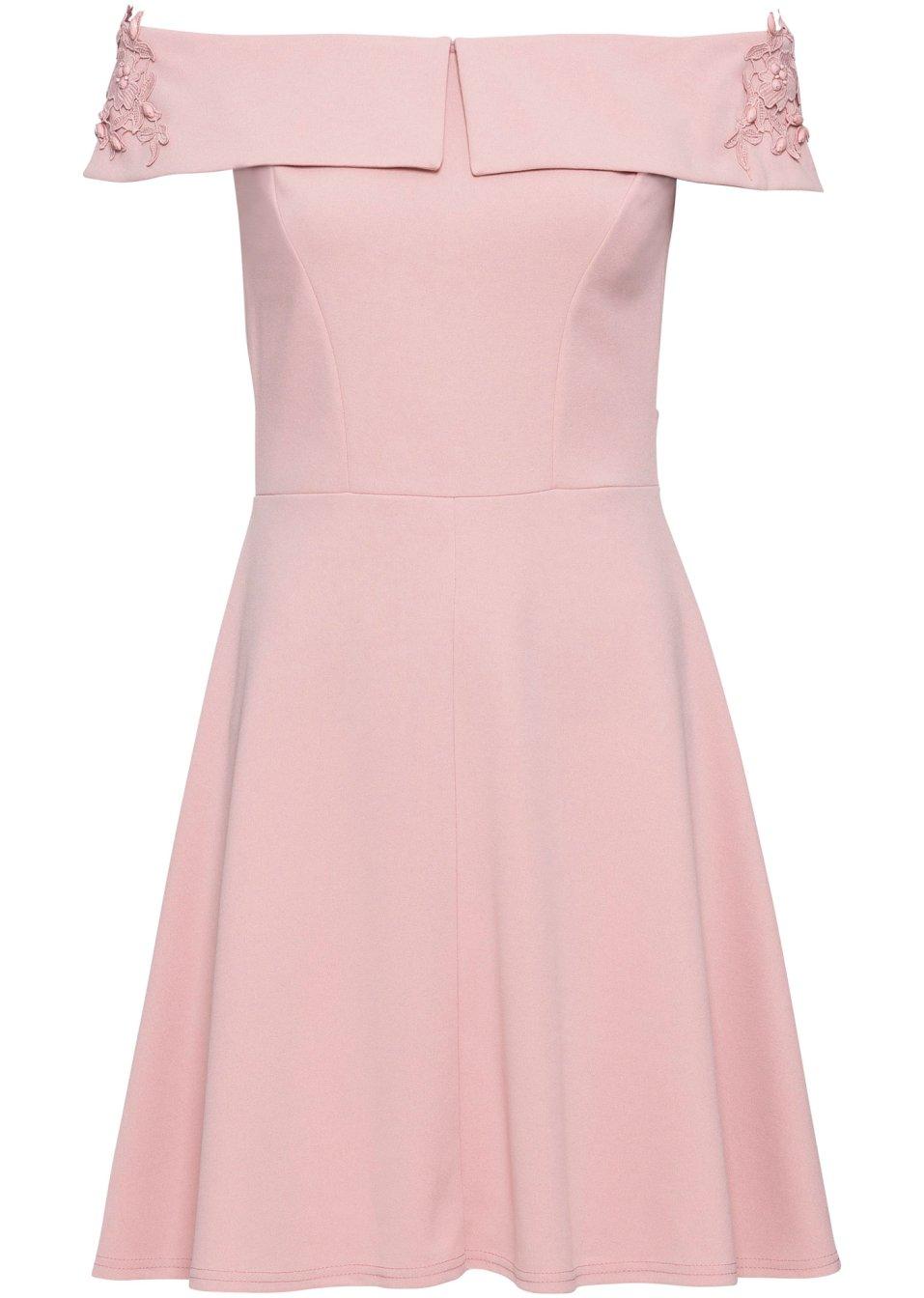 Kleid mit Carmen-Ausschnitt und Applikation rosa - Damen - BODYFLIRT - bonprix.de WmPtN uuPQc