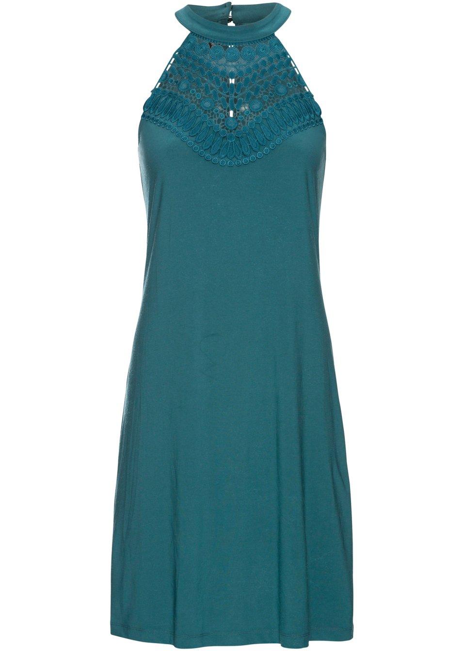 Kleid mit Spitze mattpetrol - Damen - BODYFLIRT - bonprix.de OLsDA VwVBz