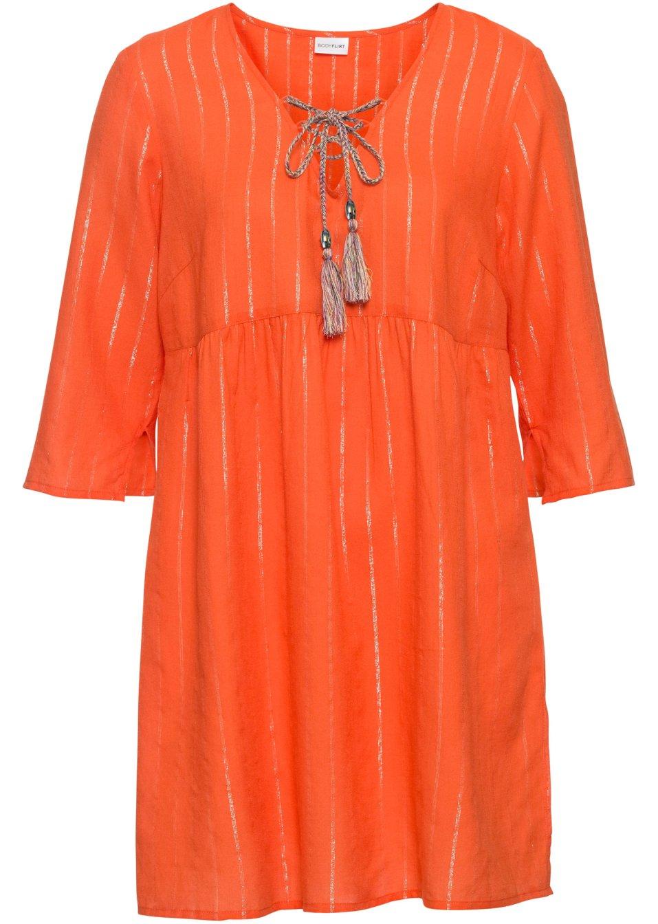 Tunika mit Lurex- Streifen V-Ausschnitt und Bindebändern. - orange/silber gestreift WYzt0 iFA7V