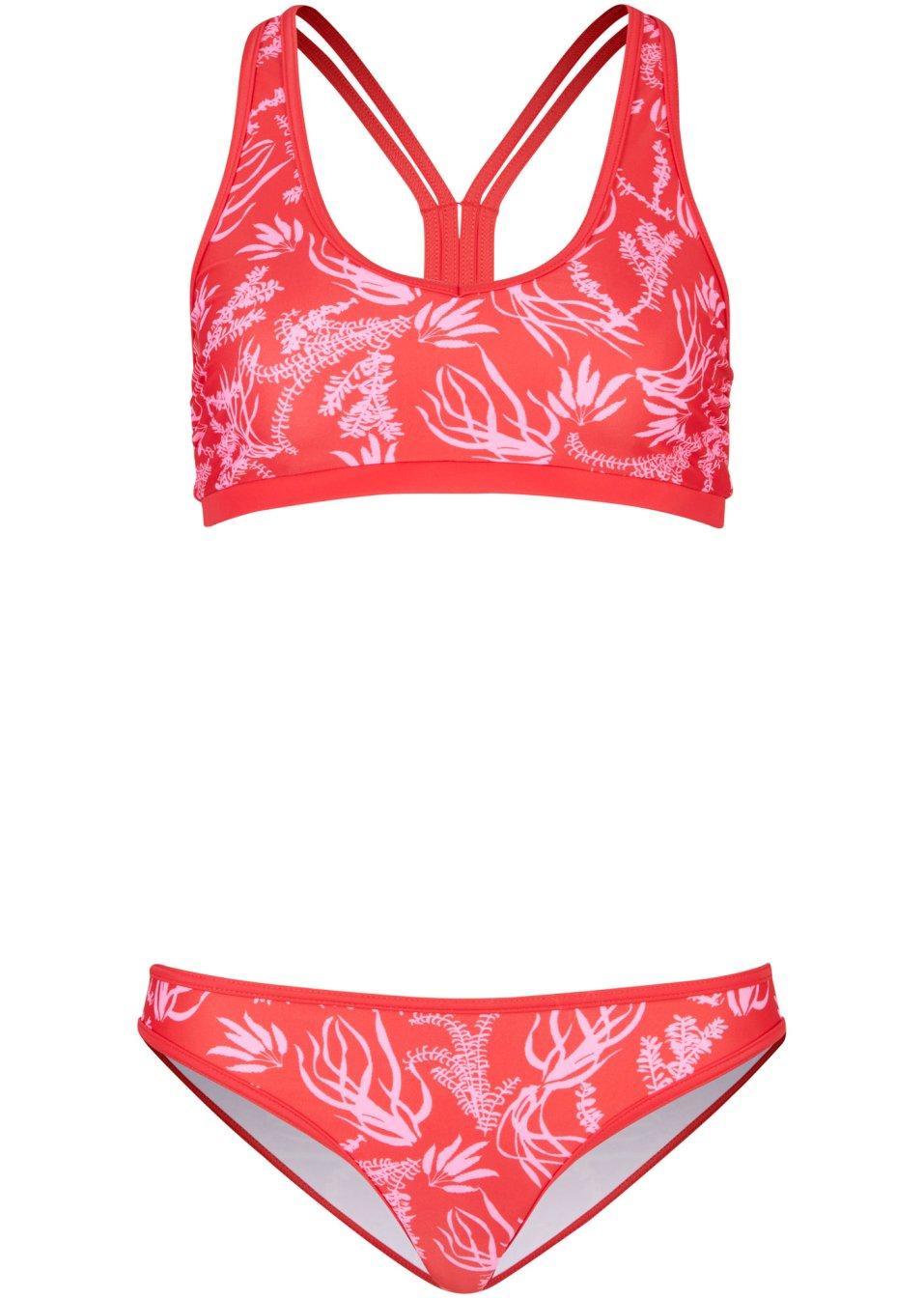 Schöner Bustier Bikini mit Ringerrücken - rot/pink 9ZdyX WVAIV