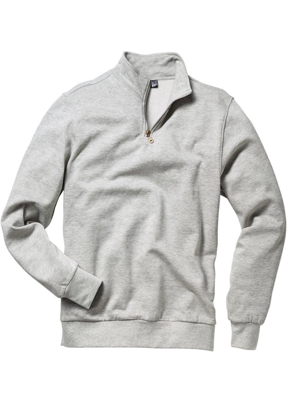 Herren Troyer-Sweatshirt: alltagstaugliche Kombimode für modebewusste Männer - hellgrau meliert BonHH AeEyO